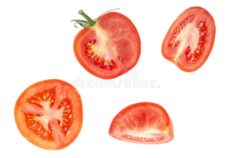 Fresh red tomato slices isolated on white background, top view. Fresh red tomato slices isolated on a white background, top view stock images