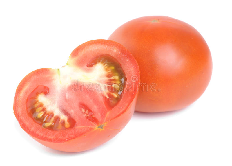 Fresh red tomatoes isolated on white stock photos