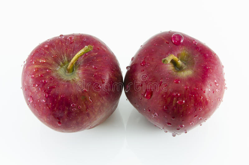 Fresh red two apples isolated on white background stock images