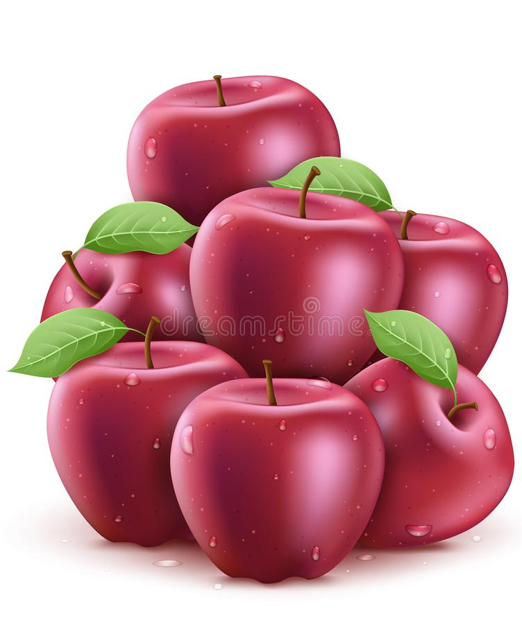 Free Fresh Red Wet Apples With Water Drops 3D Realistic Stacked Stock Images - 157309354