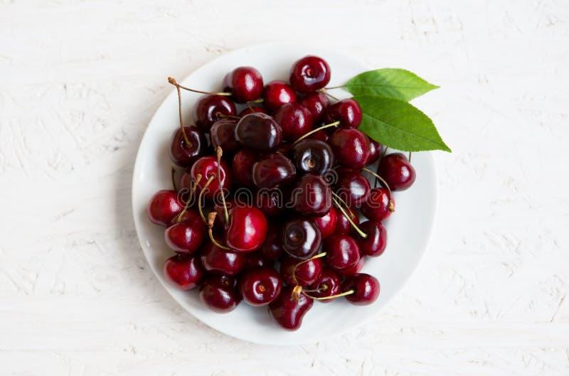 Fresh ripe cherries berries stock photos