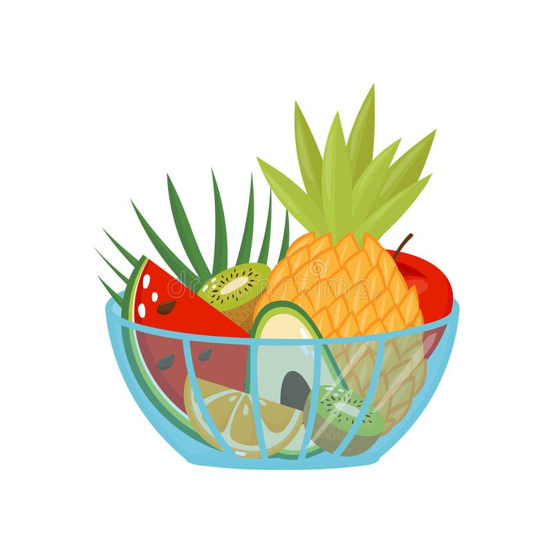 Fresh ripe fruits in a glass bowl, healthy lifestyle and diet concept vector Illustration on a white background vector illustration