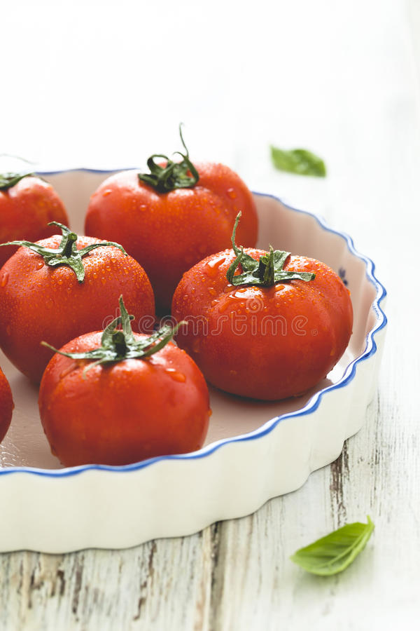 Fresh ripe grape tomatoes stock photo