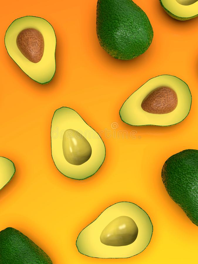 Fresh ripe green avocado fruits, whole and cut in half, on bright orange stock photo