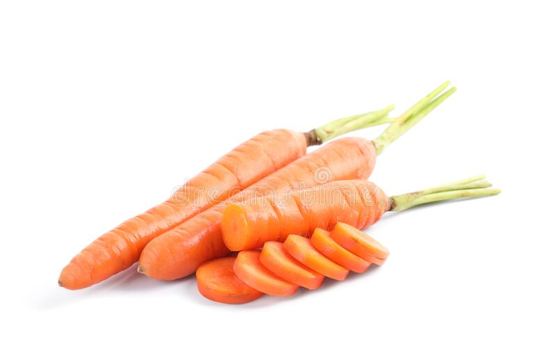Fresh ripe juicy carrots isolated on white stock photos