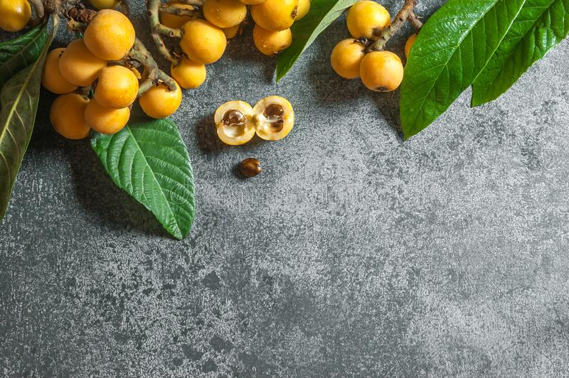 Fresh ripe loquat japanese medlar fruit with branch and leaf on grey rustic table royalty free stock photos
