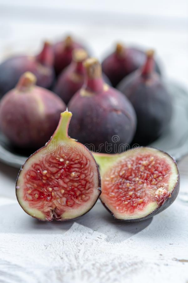 Fresh ripe organic figs fruits ready to eat stock photography