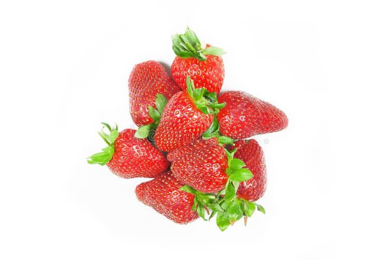 Fresh ripe organic strawberry fruit isolated on white background stock images