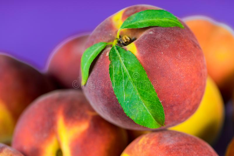 Fresh, ripe peaches with leaves close up stock photo