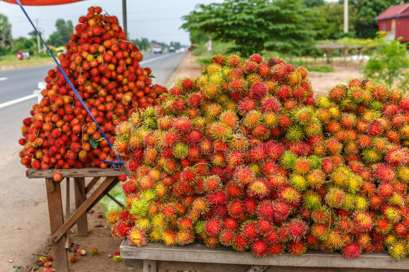 Fresh Ripe Rambutan Displayed for Sale along Highway Is the Popular Healthy Street Food Business royalty free stock images