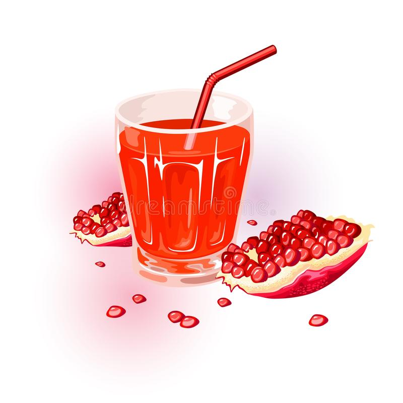 Fresh ripe red pomegranate. Fruit of punica granatum and glass of juice with straw. royalty free illustration