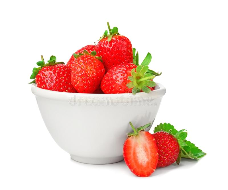 Fresh ripe strawberries in bowl, isolated stock images