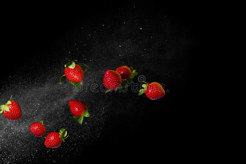 Fresh ripe strawberries flying on a black background. Free space stock images
