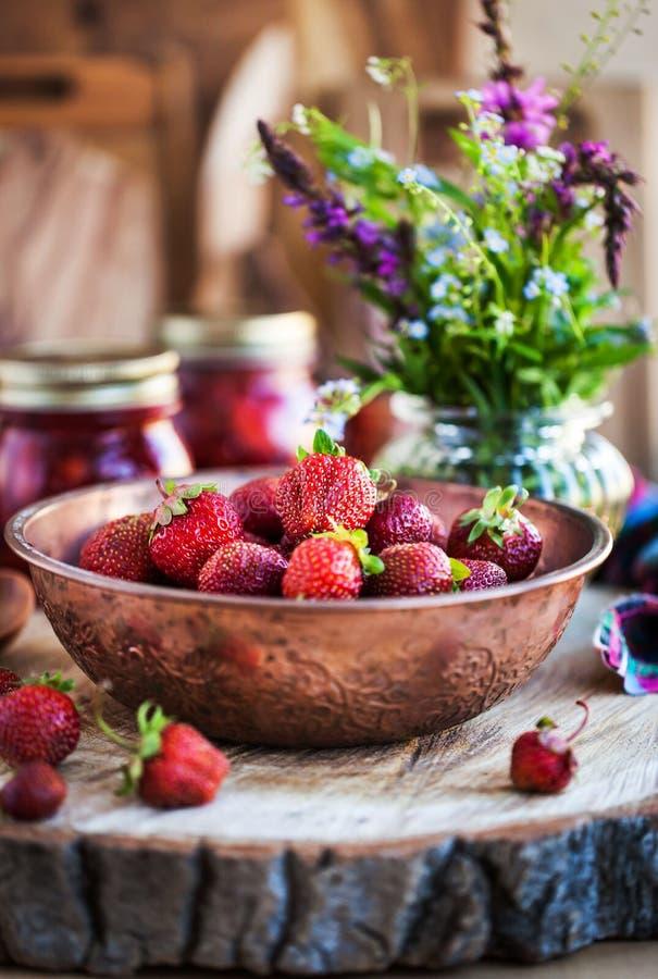 Fresh ripe summer organic strawberry stock images