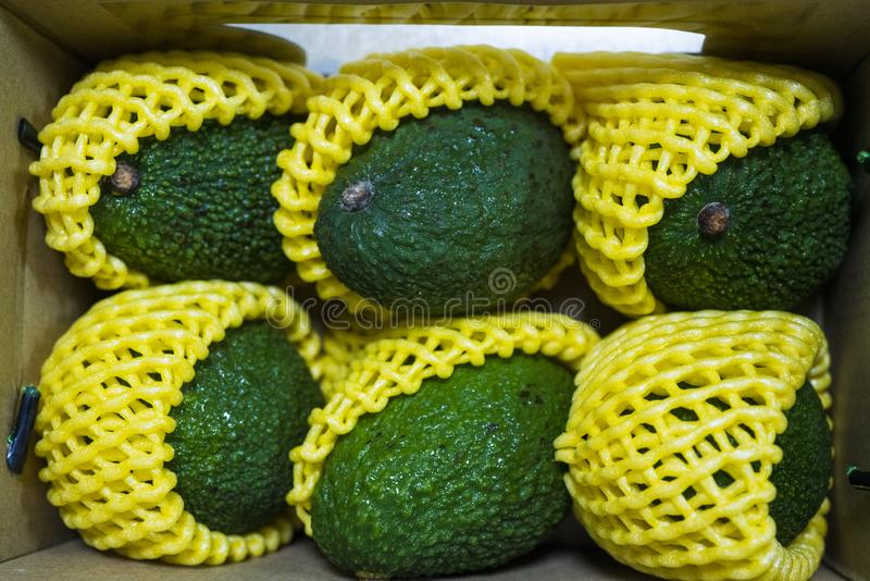 Fresh ripe tasty avocados in the box royalty free stock photo