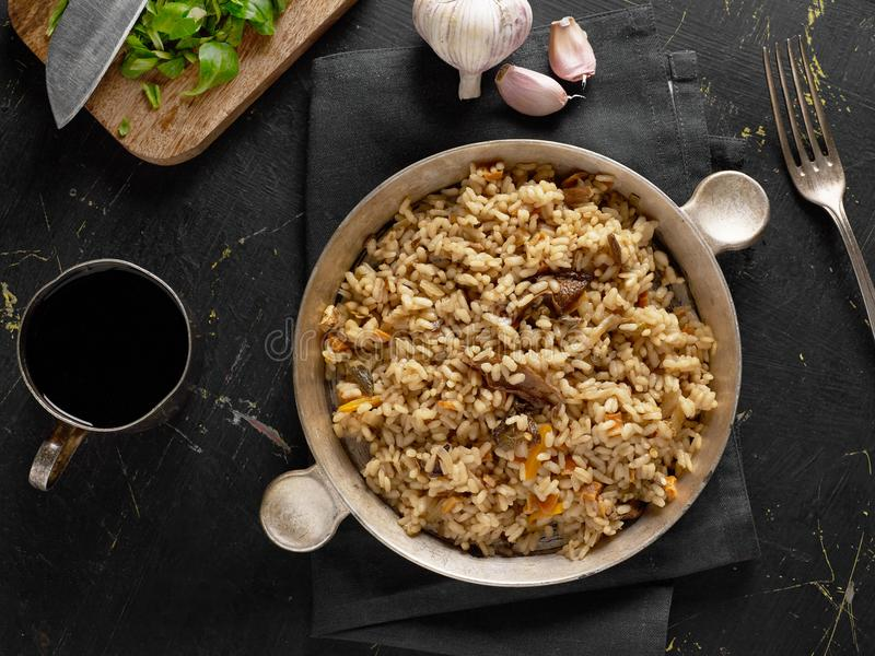Fresh risotto from above stock photo