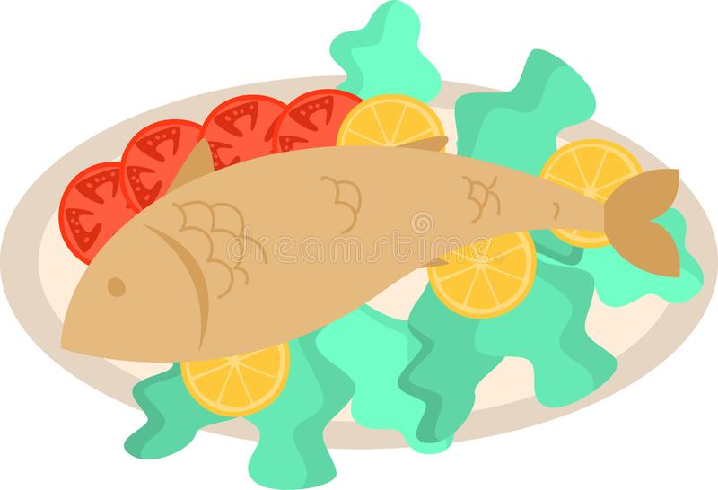 Fresh roasted fish on ceramic plate with cutted tomato. And piece of lemon. Flat style. Vector illustration on white background stock illustration