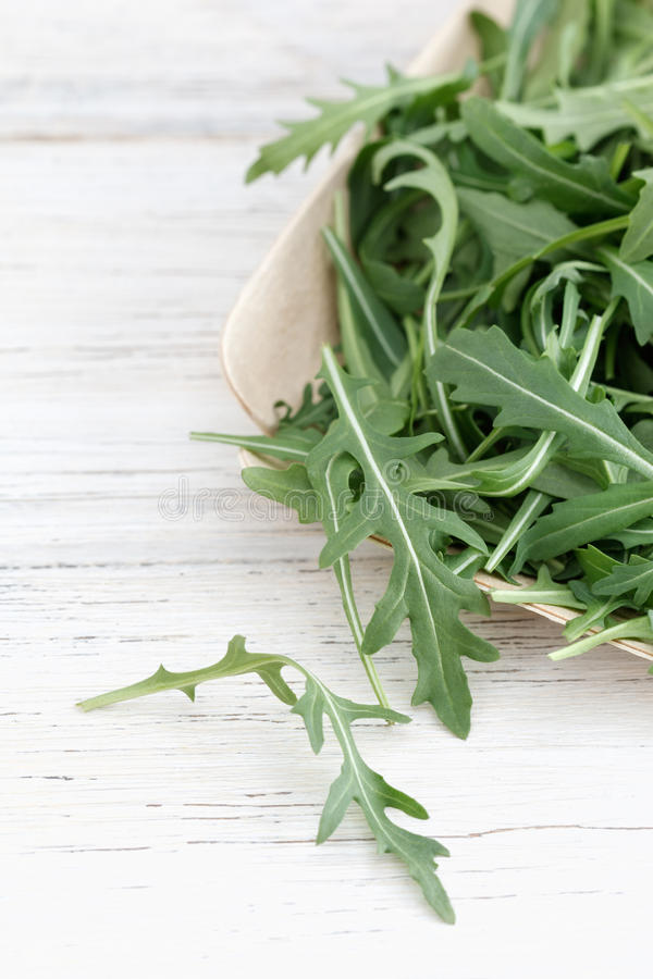 Fresh rocket leaves. On a white wooden background with copy space royalty free stock image