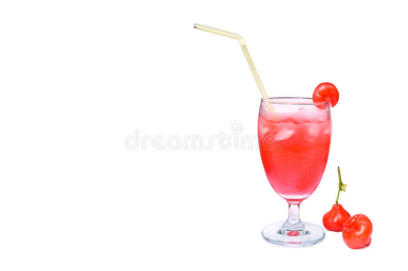 Fresh rose apple juice in glass, isolated on white background royalty free stock image