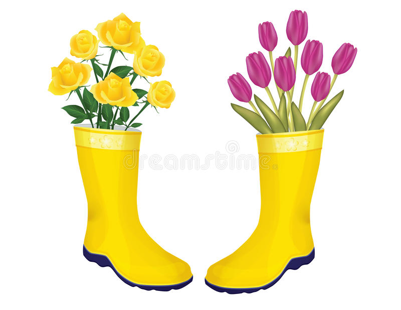 Fresh roses and tulips in boots vector illustration