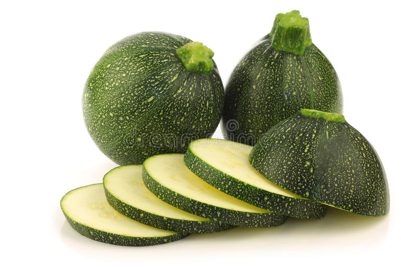 Download Fresh Round Zucchini's And A Cut One Stock Image - Image: 24523971