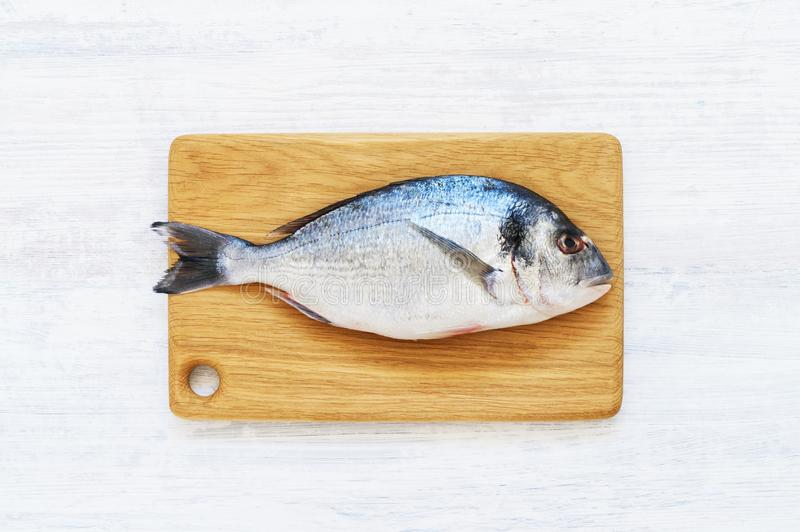 Fresh Royal Dorade in plate on wooden cutting board. White background. Healthy food concept. Top view, copy space. Mediterranean seafood concept royalty free stock image