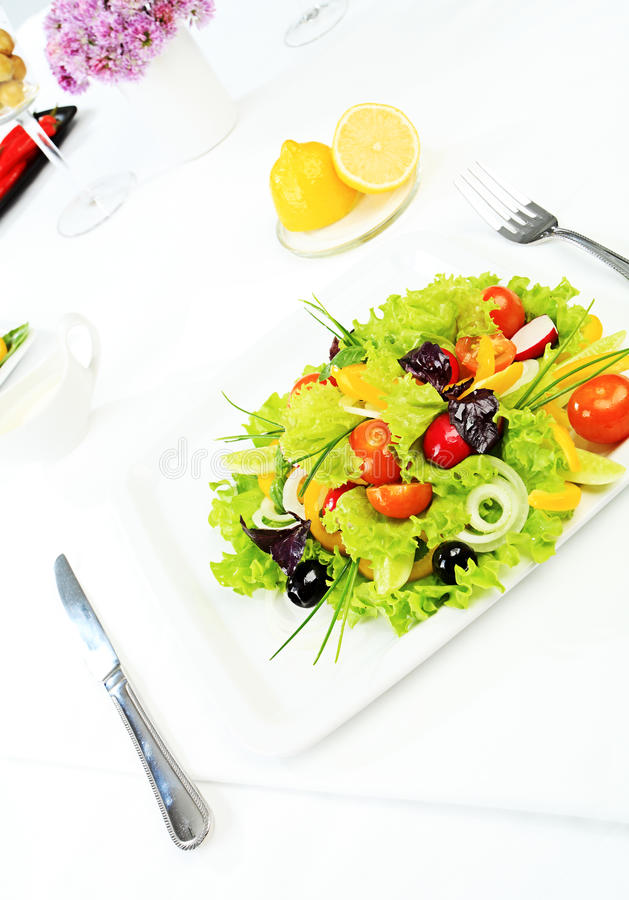 Fresh salad. Food theme: fresh vegetable salad, side dishes royalty free stock photos