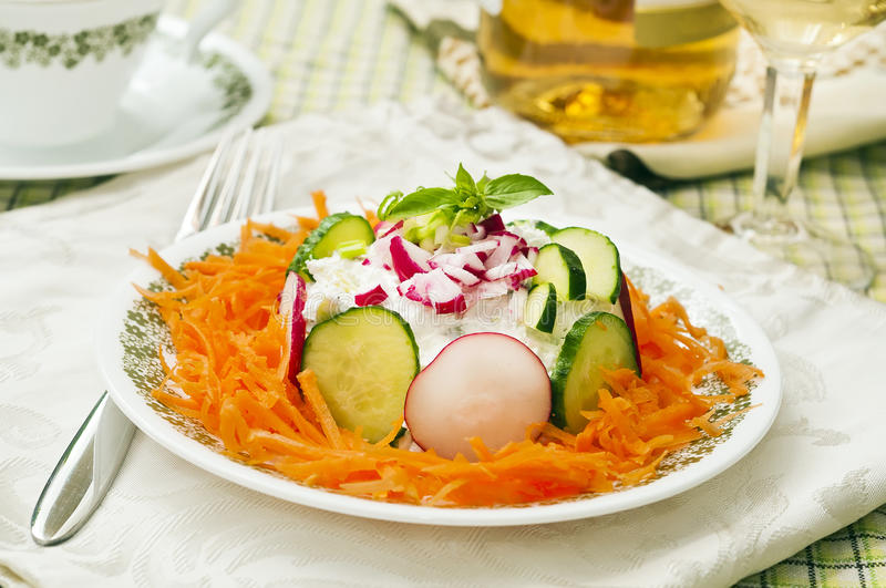Fresh salad with carrot stock images