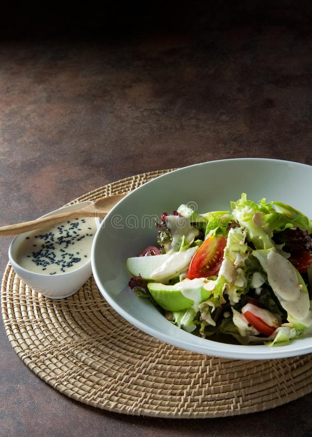 Fresh salad chicken breast with arugula and cherry tomatoes stock photography