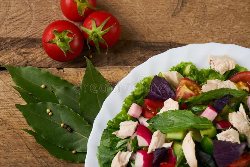 Fresh salad with chicken breast stock photos