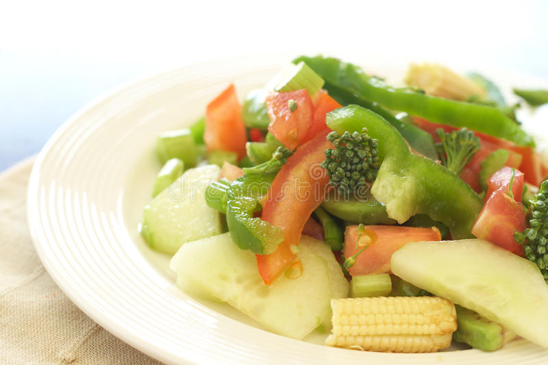 Fresh salad with cucumber, tomato and peppers stock photos