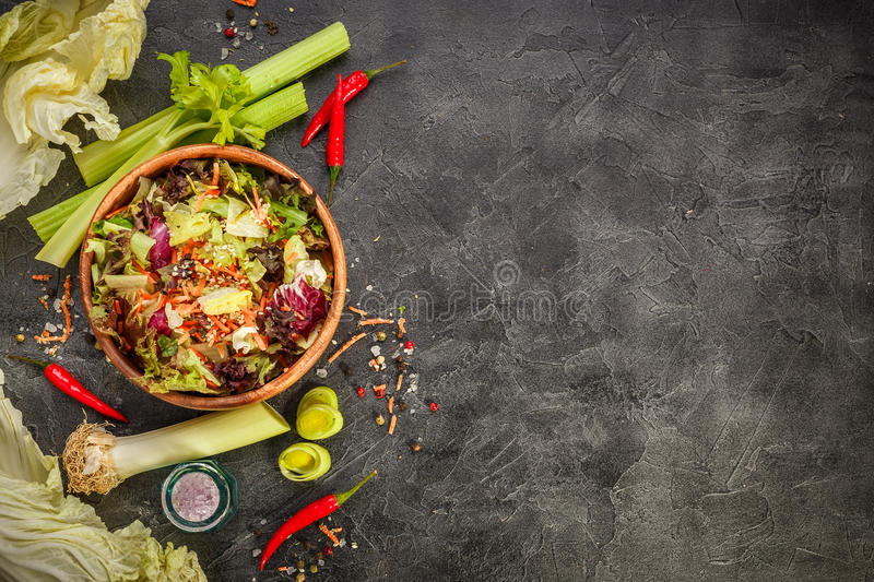 Fresh salad leaves mixFresh salad leaves mix royalty free stock photography