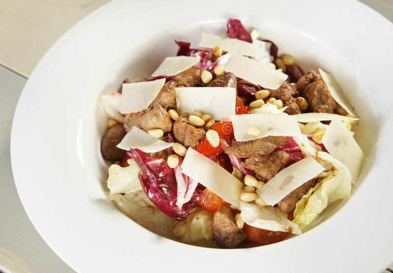 Download Fresh Salad With Meat And Cedar Nuts Stock Photo - Image: 37495448