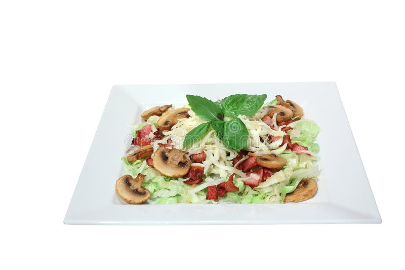Fresh Salad With Mushrooms, Cheese And Fried Bacon Stock Photo