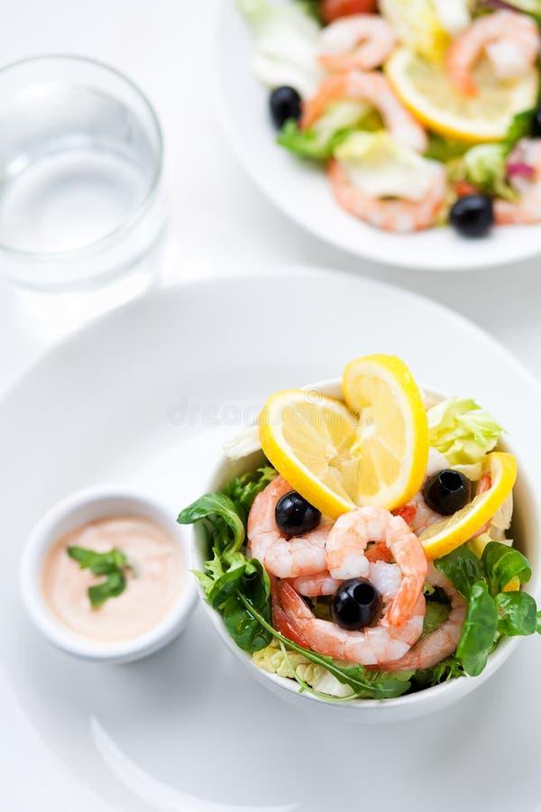 Download Fresh Salad With Olives, Prawns, Lemons And Sauce Stock Image - Image: 23662655