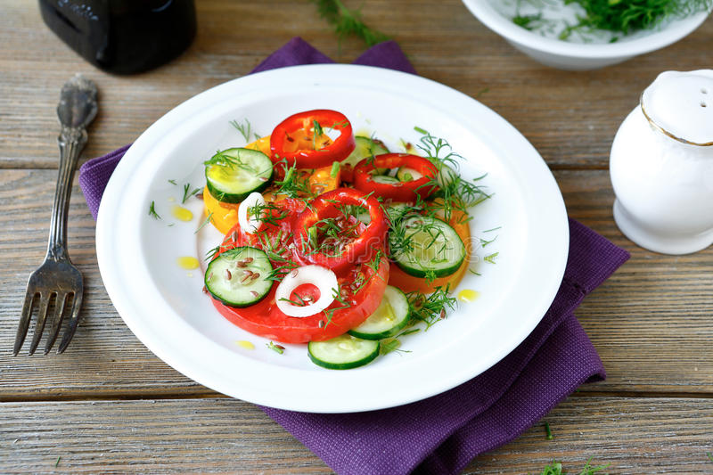 Fresh salad with tomato and pepper. Top view stock photos