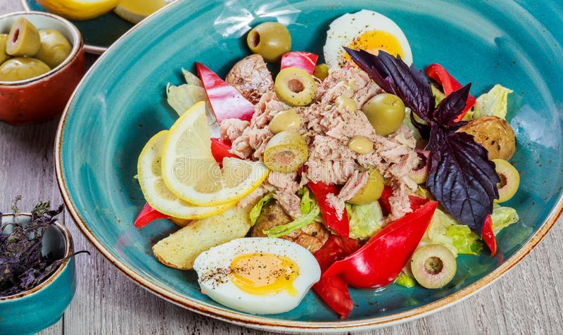 Fresh salad with tuna, olives, sweet peppers, eggs, fried potatoes, basil, lettuce and lemon on wooden background close up royalty free stock images