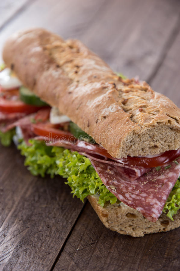 Fresh Salami Baguette royalty free stock image