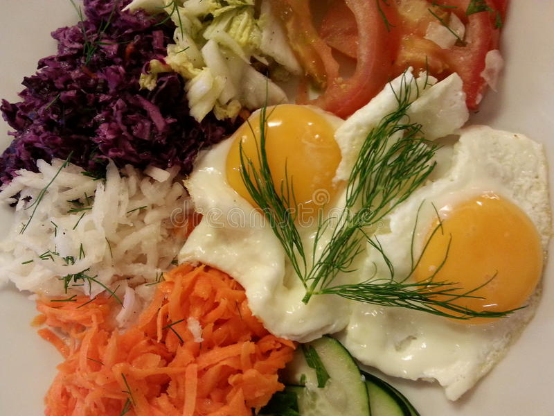 fresh salat with eggs stock image