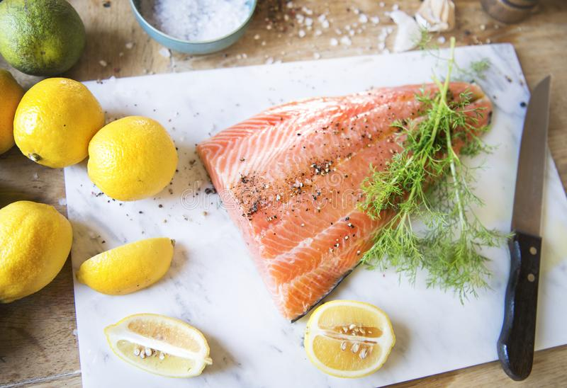 Fresh salmon with dill food photography recipe idea royalty free stock photography