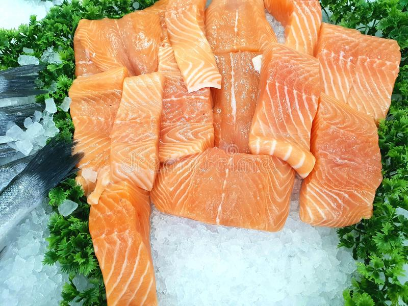 Fresh Salmon fillets. In a supermarket stock photography