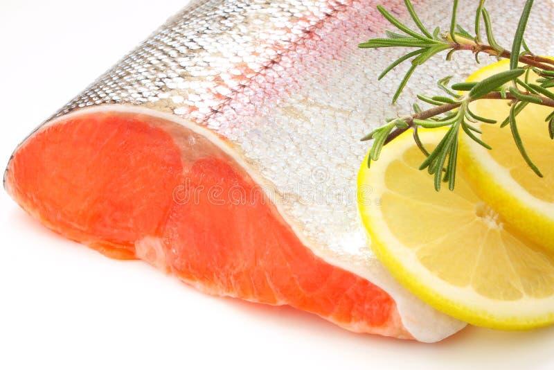 Fresh salmon. With lemon and rosemary royalty free stock photo