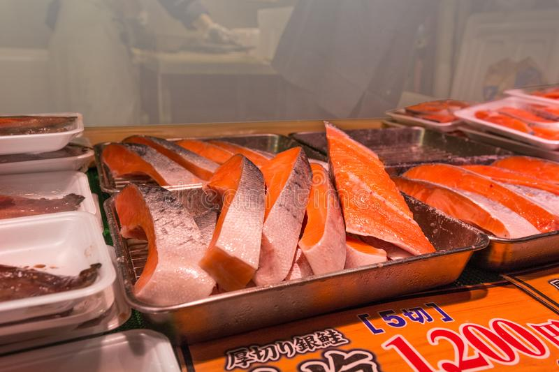 Fresh Salmon meat serving on sale royalty free stock image