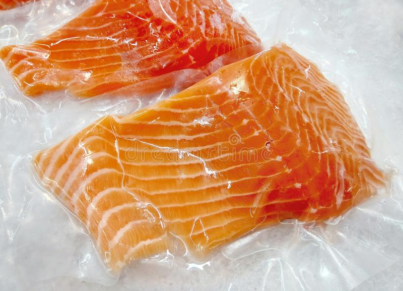 Fresh salmon in packing on ice. royalty free stock images