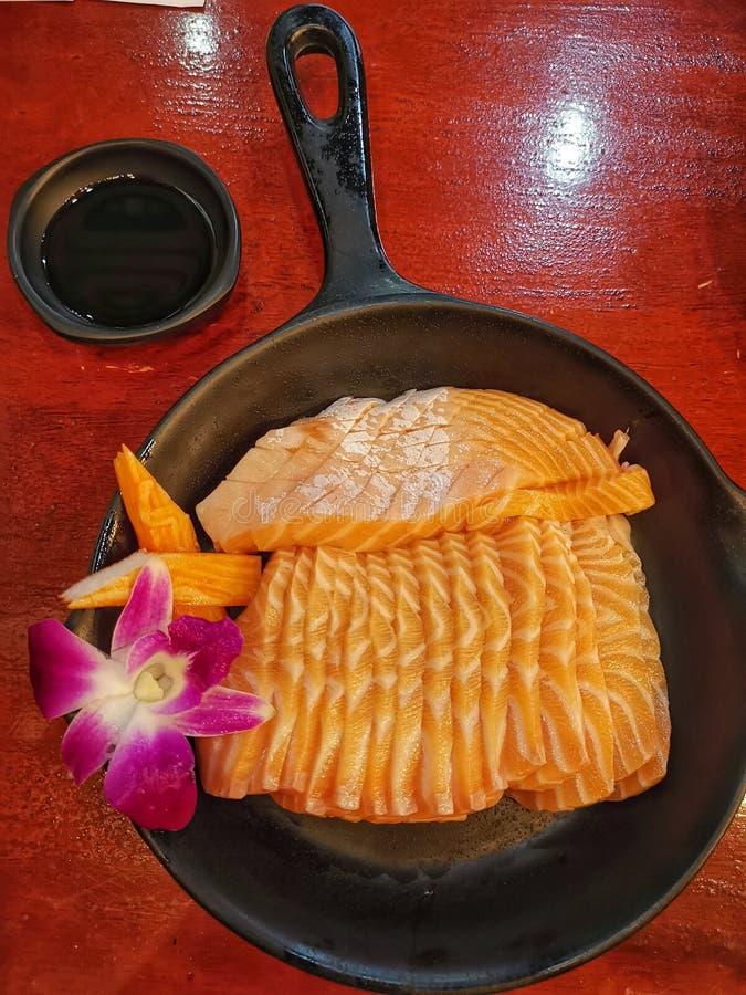 Fresh salmon sashimi  buffet stock image