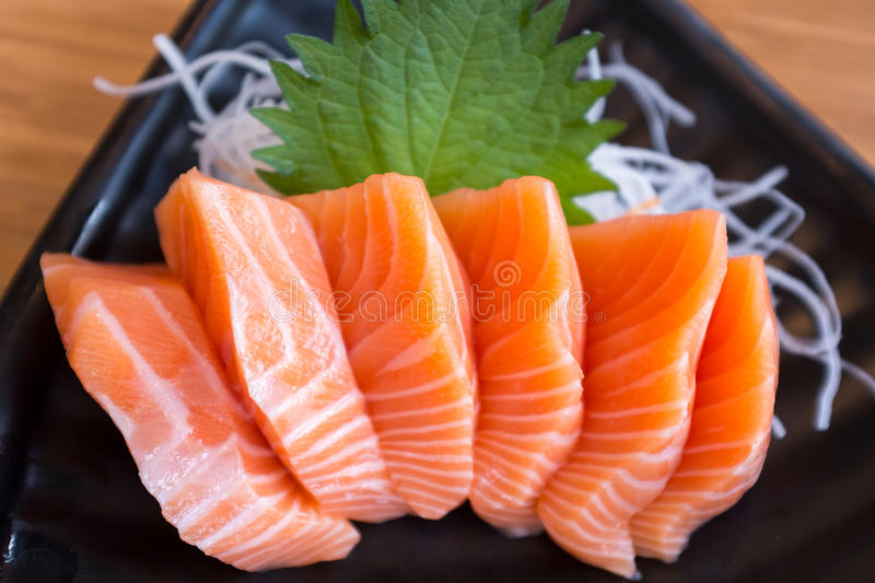Fresh Salmon Sashimi. A dish of fresh salmon sashimi stock photo