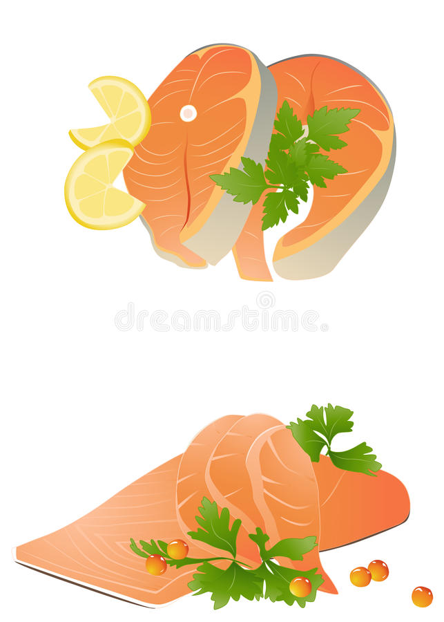 Fresh salmon steak royalty free illustration