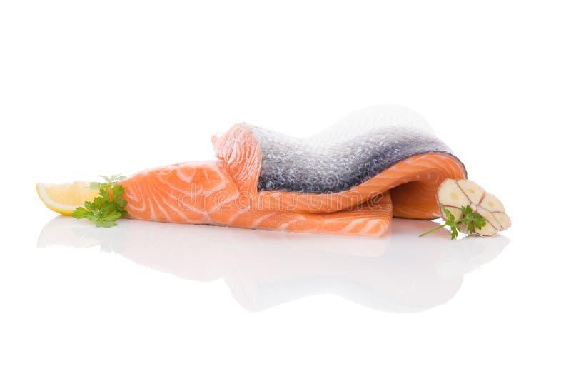 Fresh salmon steak. Raw salmon steak on white background. Sashimi sushi. Luxurious healthy seafood eating stock photos