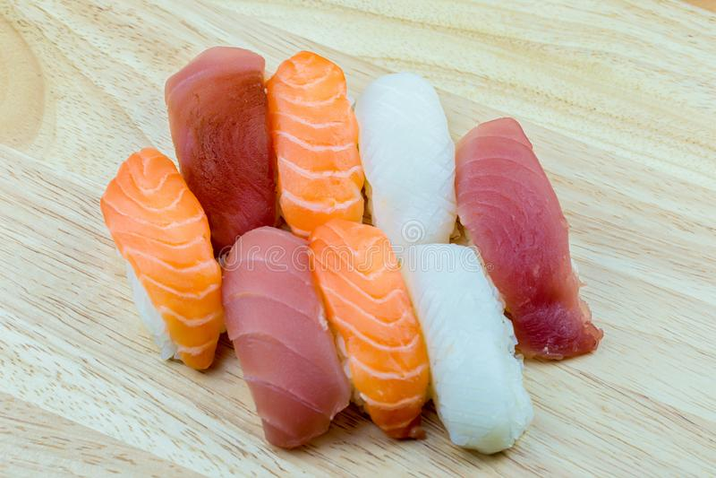 Fresh salmon sushi , salmon maki roll Japanese food restaurant, salmon sushi on plate. stock photography