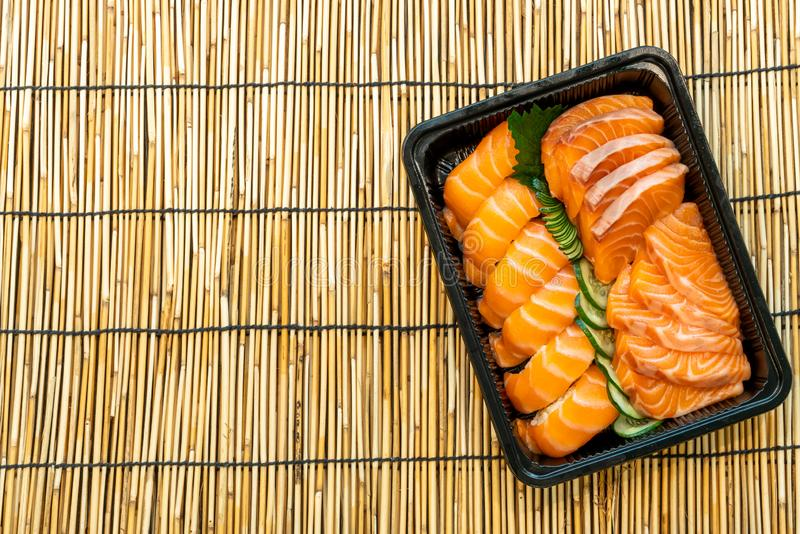 fresh salmon are sushi and sashimi stock photography